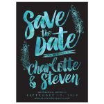 Watercolor Peacock Feathers Save The Date Cards front