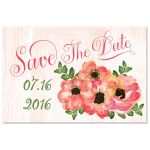 Peach watercolor flowers wedding save the date postcard with gold gilding