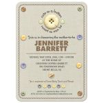 Baby Shower Invitation - Cute as a Button Stitched Linen