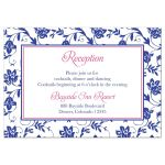 Pink gerber daisy, royal blue and white damask and ribbon wedding reception insert card front