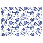 Pink gerber daisy, royal blue and white damask and ribbon wedding reception insert card back