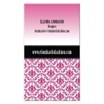 Business Card - Pink Damask Dress Form Fashion Designer