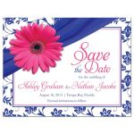 ​Pink gerber daisy royal blue damask and ribbon wedding save the date postcard front