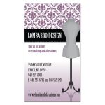 Business Card - Purple Damask Dress Form Fashion Designer