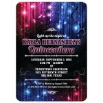 Quinceañera Invitation - Magic Neon Grunge Glow Lights