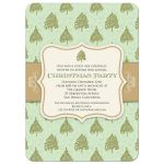 Holiday Party Invitation - Green Christmas Tree Pattern