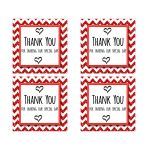 Cute Red Sparkly Chevron Thank You Party Favor Square Stickers