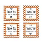 Cute Orange Sparkly Chevron Thank You Party Favor Square Stickers