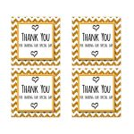 Cute Gold Sparkly Chevron Thank You Party Favor Square Stickers