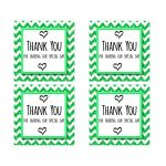 Cute Green Sparkly Chevron Thank You Party Favor Square Stickers
