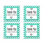 Cute Teal Sparkly Chevron Thank You Party Favor Square Stickers