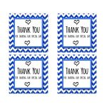 Cute Navy Sparkly Chevron Thank You Party Favor Square Stickers