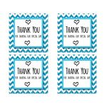 Cute Blue Sparkly Chevron Thank You Party Favor Square Stickers