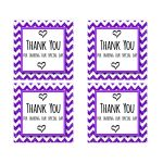 Cute Purple Sparkly Chevron Thank You Party Favor Square Stickers