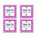 Cute Pink Sparkly Chevron Thank You Party Favor Square Stickers