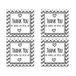 Cute Silver Sparkly Chevron Thank You Party Favor Square Stickers