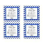 Cute Navy Sparkly Chevron Personalized Party Favor Thank You Stickers