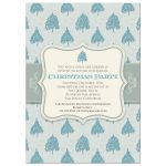 Holiday Party Invitation - Blue Christmas Tree Pattern