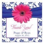 Pink gerber daisy flower, royal blue damask and ribbon wedding favor tag front