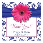 Pink gerber daisy flower, royal blue damask and ribbon wedding favor tag back