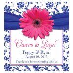 Pink gerber daisy, royal blue damask and ribbon wedding wine labels