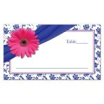 ​Pink gerber daisy, royal blue and white damask and ribbon flat wedding place cards front