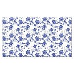 ​Pink gerber daisy, royal blue and white damask and ribbon flat wedding place cards back