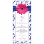 Pink gerber daisy, royal blue and white damask and ribbon wedding reception menu front