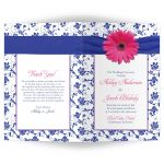Pink gerber daisy, royal blue and white damask and ribbon wedding program cover outside