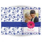 Personalized pink gerber daisy, royal blue damask wedding photo thank you card