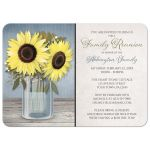 Family Reunion Invitations - Sunflower Blue Mason Jar Rustic