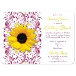 Berry pink and white floral, yellow sunflower elegant bridal shower invitation