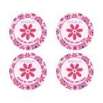 Trendy Flower Round Favor Stickers