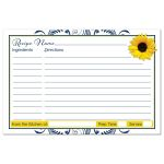 Navy blue and white floral, yellow sunflower bridal shower recipe card back