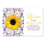 Purple and white floral, yellow sunflower bridal shower recipe card front
