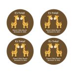 Twin Boy Giraffes Round Favor Stickers