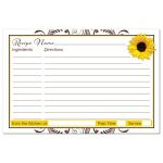 Brown and white floral, yellow sunflower fall bridal shower recipe card back