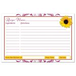 Berry pink and white floral, yellow sunflower bridal shower recipe card back