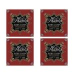 Red Gold ornate lace square stickers