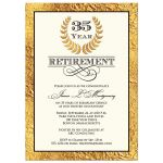35 year retirement invitation with gold laurel wreath