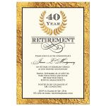 40 year retirement invitation with gold laurel wreath