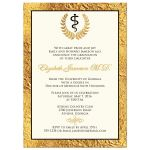 Great photo graduation announcement with gold foil and laurel branches