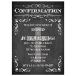 Chalkboard confirmation invitation with Cross, scrolls, and flourishes