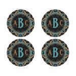 Gold Teal Pink Diamond Glitter Monogram Round envelope seals