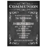 Chalkboard first holy communion invitation with Cross, scrolls, and flourishes
