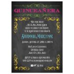 Chalkboard Quinceanera invitation with neon colors and vintage scrolls and flourishes