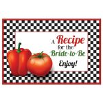 Retro Italian kitchen themed bridal shower recipe card featuring red tomato and pepper front
