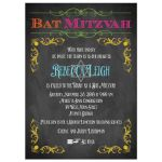 Chalkboard Bat Mitzvah invitation with neon colors and vintage scrolls and flourishes