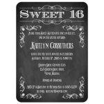 Chalkboard sweet 16 birthday invitation with vintage scrolls and flourishes