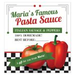 Retro Italian red pepper tomato homemade pasta sauce label